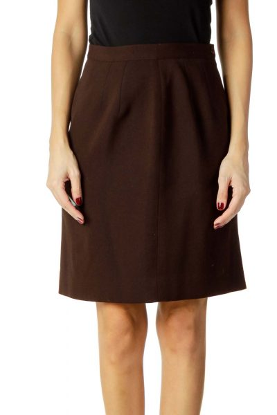 Brown Wool Pencil Skirt