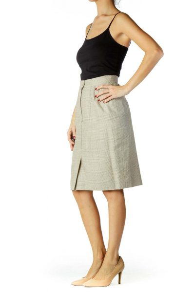 Gray Beige Houndstooth Pencil Skirt