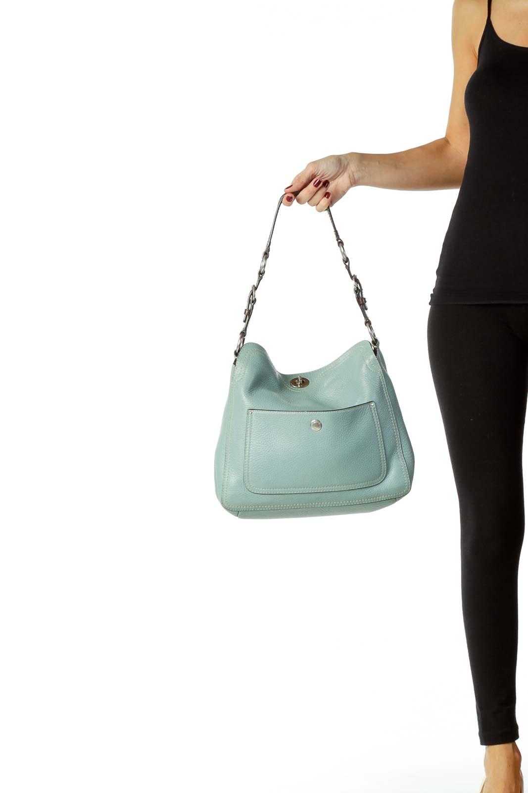 Blue Leather Shoulder Bag
