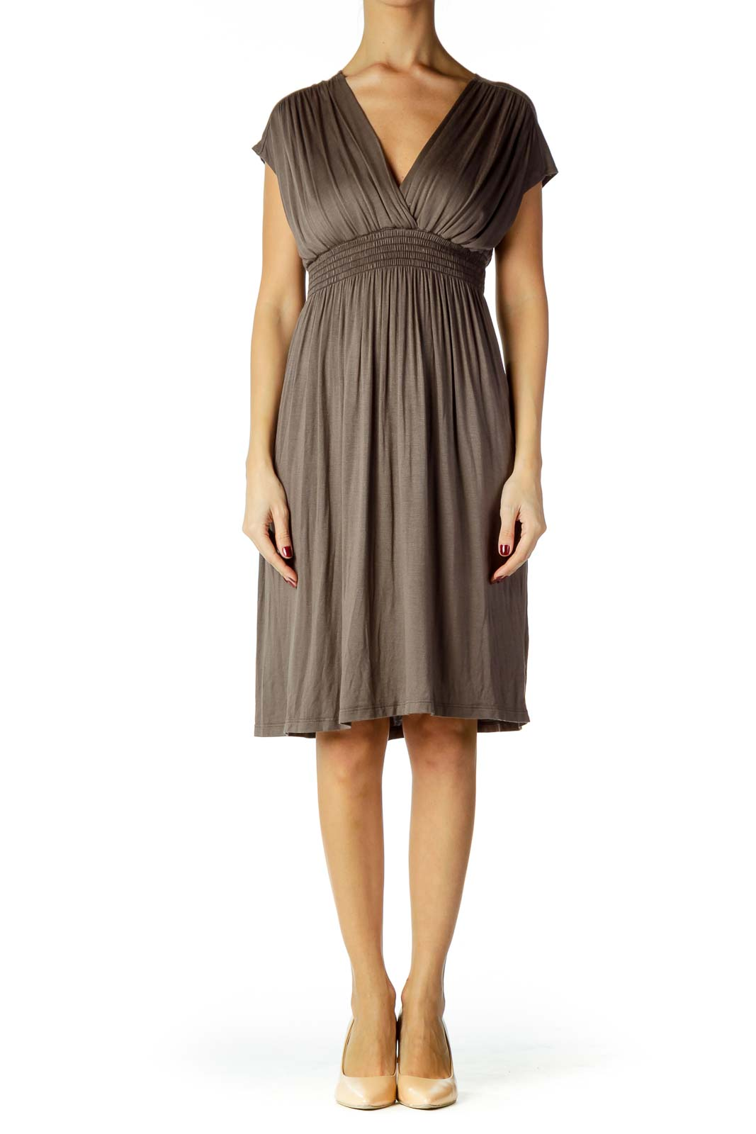 Taupe Scrunched Dress