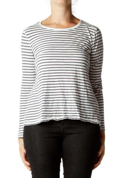 White Gray Striped Top