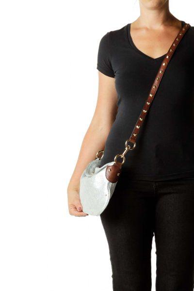 Silver Brown Metallic Leather Crossbody Bag