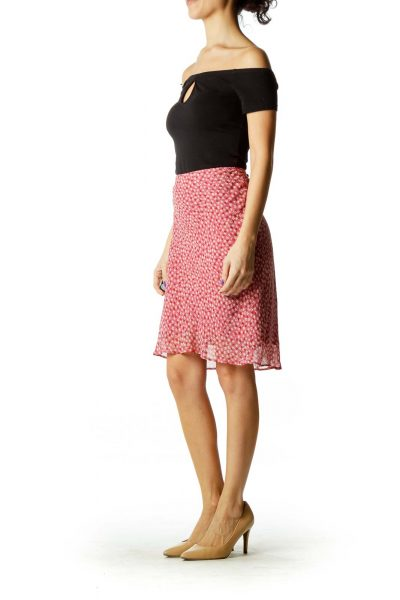 Pink Tan Flower Print Skirt