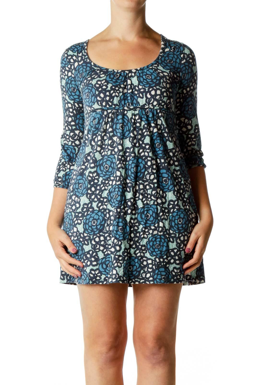 Blue Flower Jersey Dress
