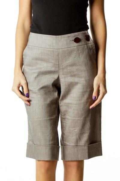 Brown Mottled Cropped Slacks