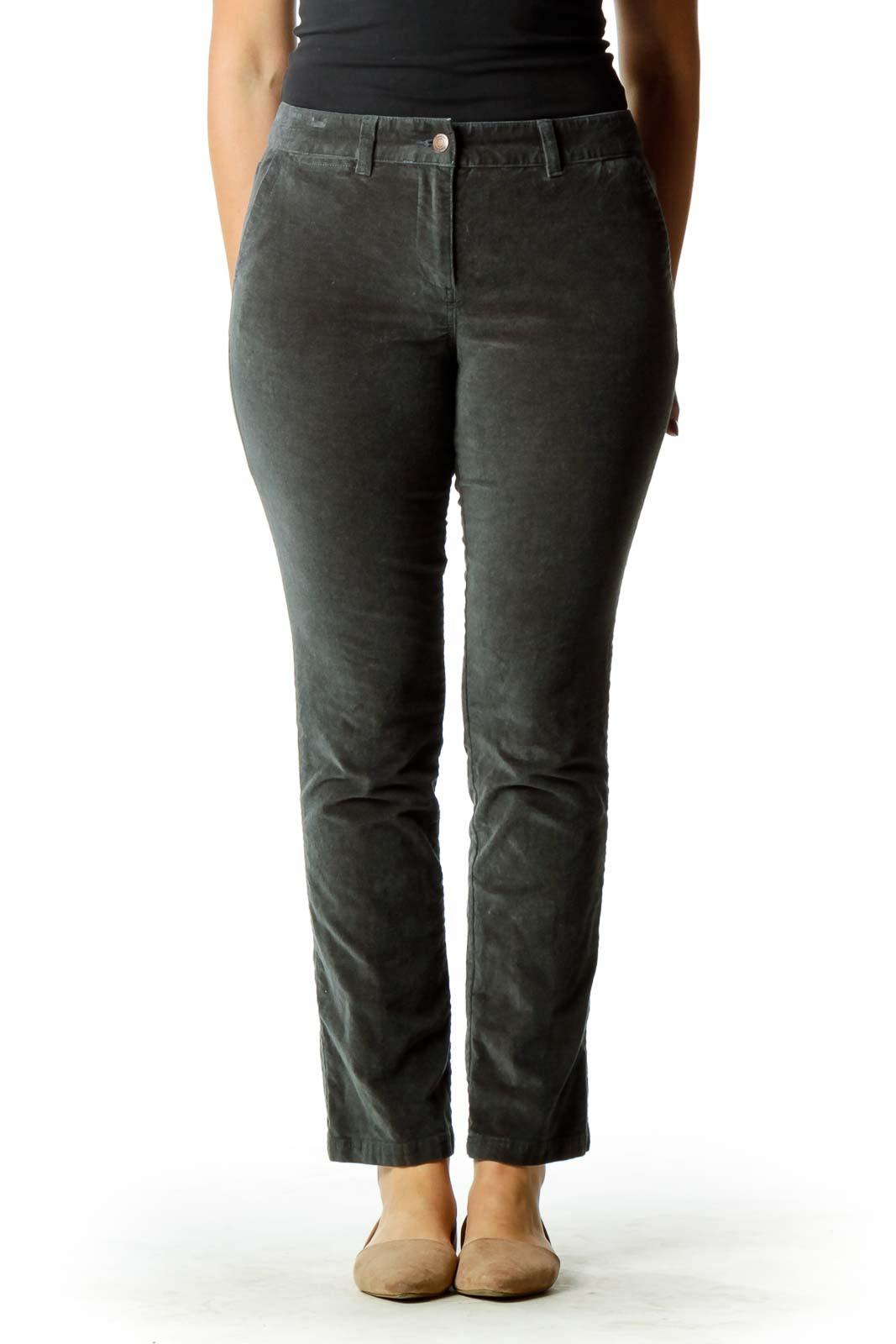 Gray Velvet Straight-Leg Pants