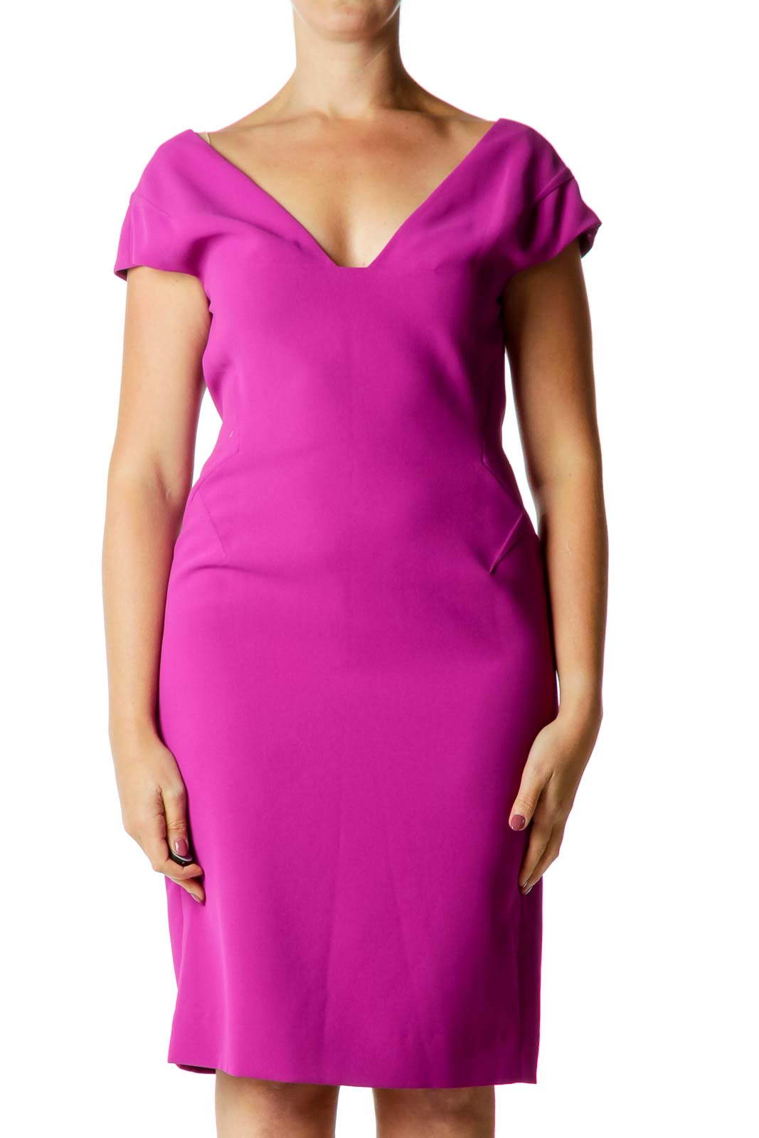 Purple V-neck Fitted Dress
