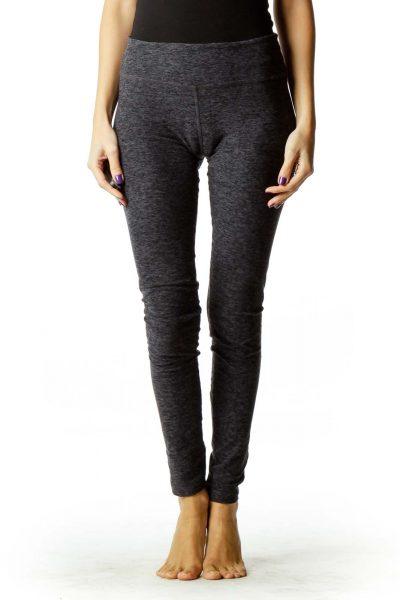 Black & Gray Straight-Leg Leggings