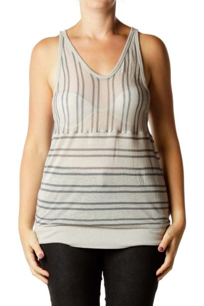 Gray Linen Striped Tank