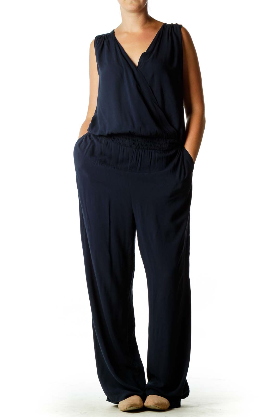 Navy Lace Back Jumpsuit