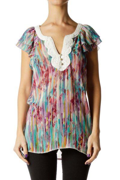 Multicolor Sheer Sleeveless Blouse