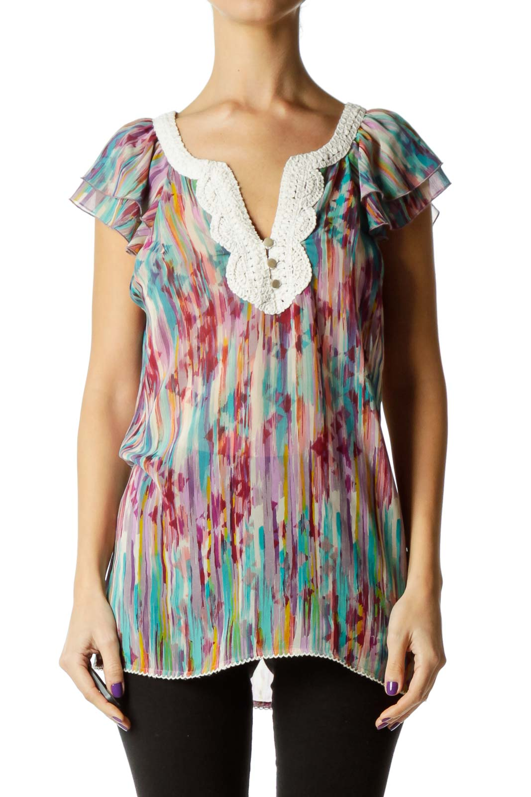 Multicolor Sheer Sleeveless Blouse