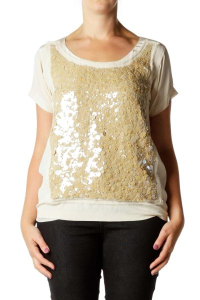 Pink Beige Sequined Blouse