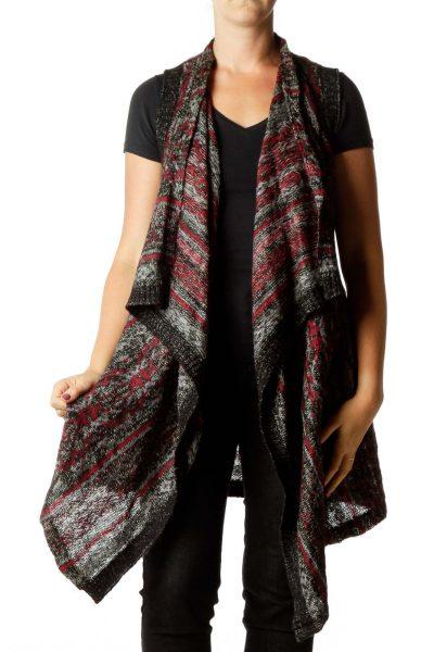 Black Maroon Knit Cardigan