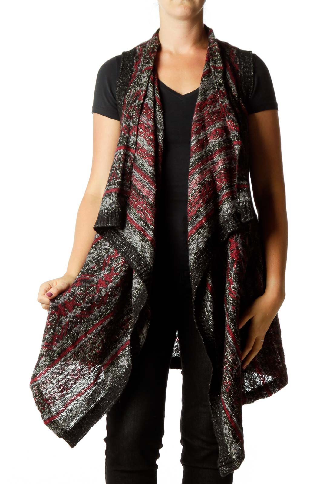 Black Maroon Knit Cardigan