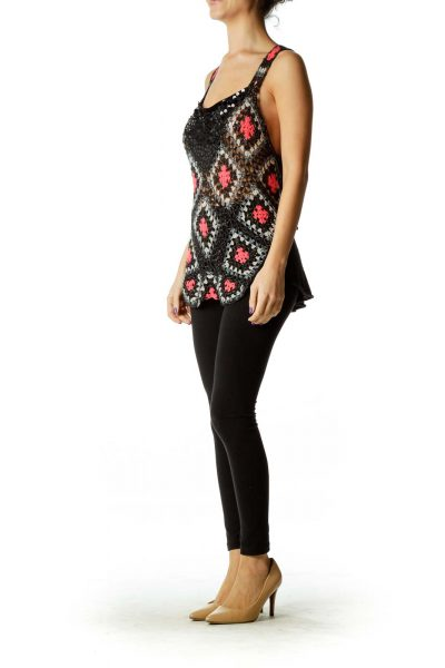 Black Pink Crocheted Sequin Detail Knit Tank