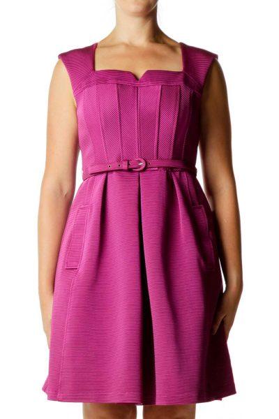 Purple Sweetheart Neck Cocktail Dress