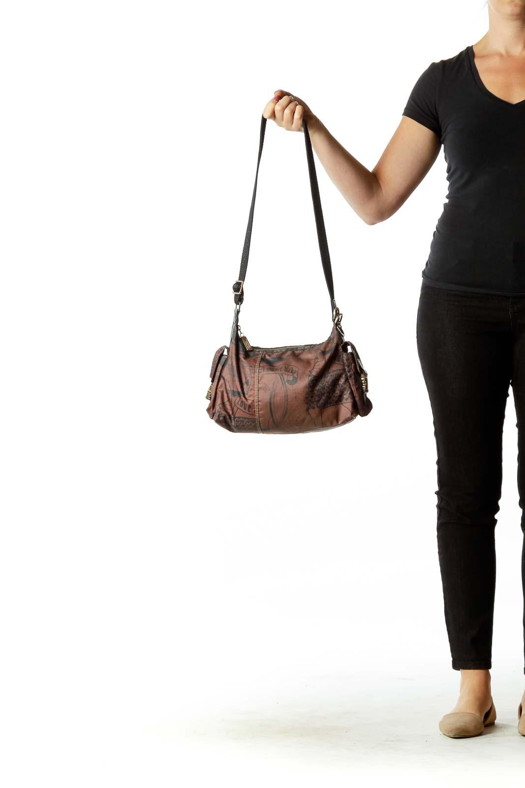Brown Black Print Shoulder Bag