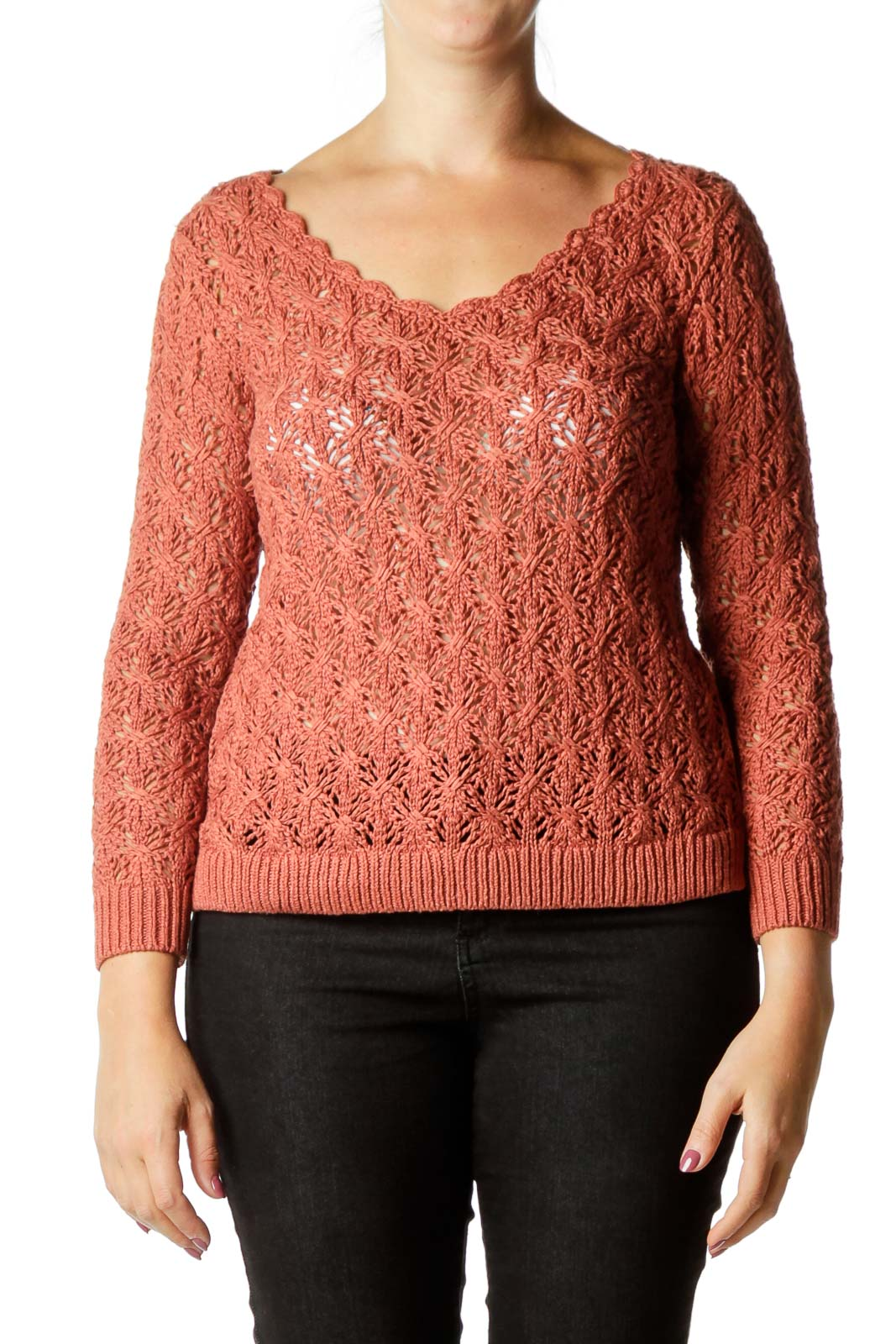 Brown Crocheted Round Neck Knit Top