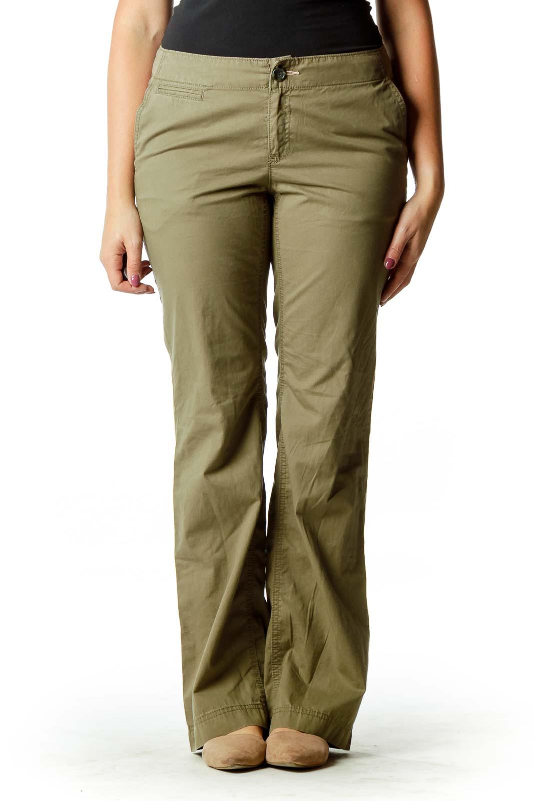Olive Green Straight Leg Pants