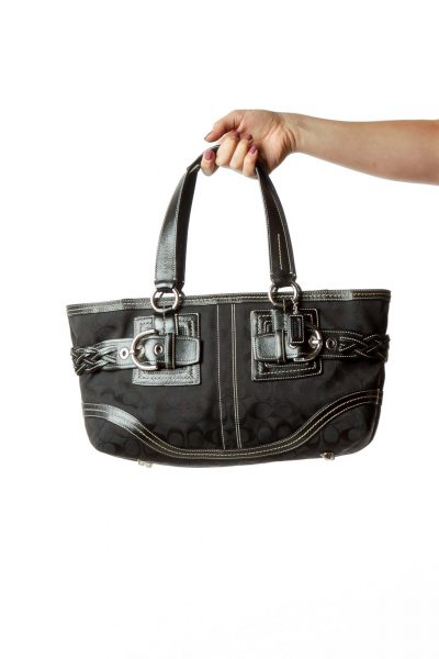 Black Monogrammed Leather Tote