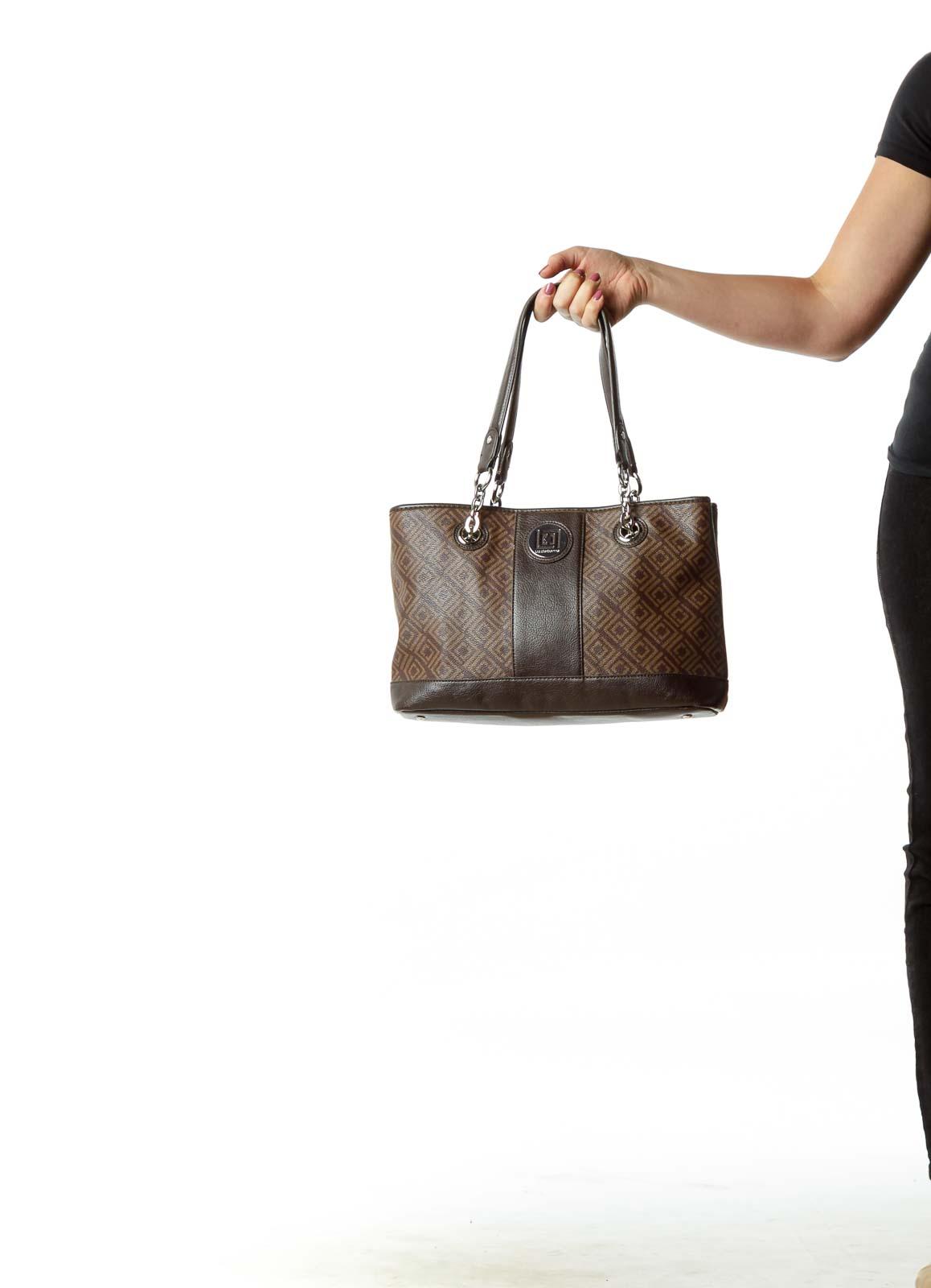 Brown Leather Monogrammed Shoulder Bag