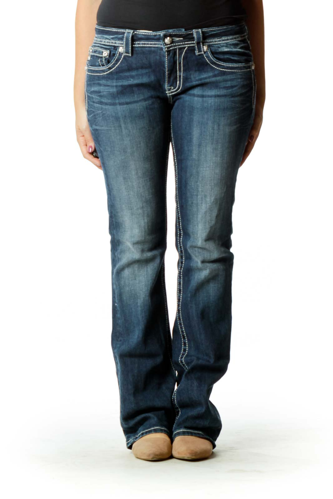 Blue Stitched Flared Jeans
