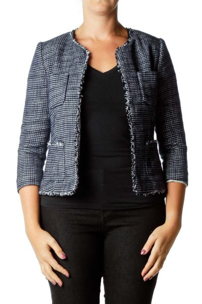 Navy & White Tweed Blazer