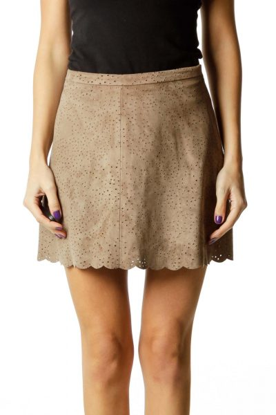 Brown Faux-Suede Mini Skirt