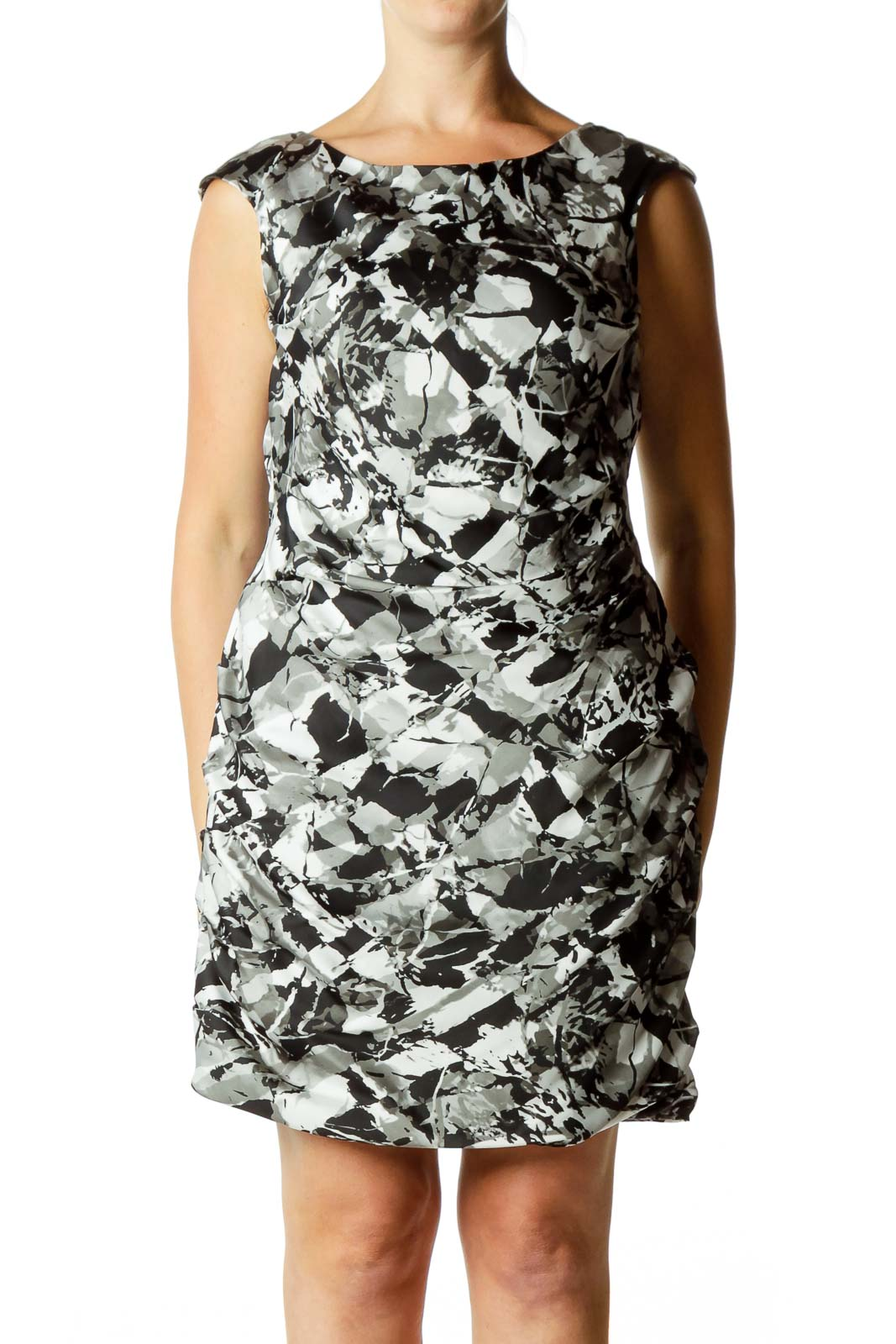 Black & Gray Sleeveless Dress