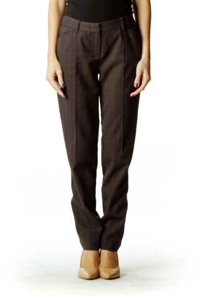 Gray Tartan Straight-Leg Pants
