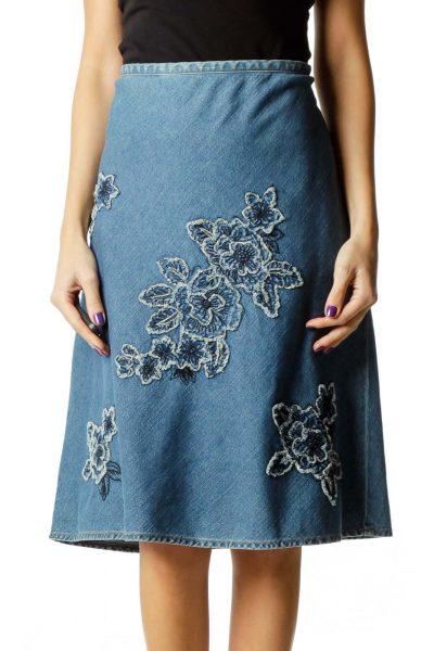 Blue Embroidered Denim Skirts
