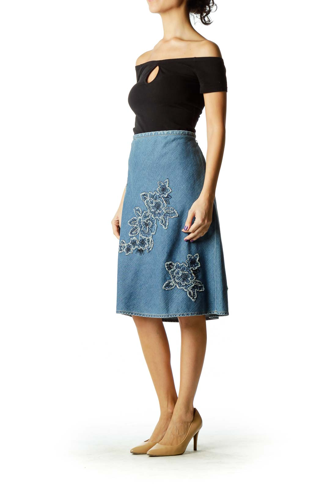 Blue Embroidered Denim Skirts