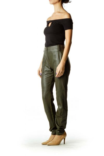 Green Faux-Leather Skinny Pants