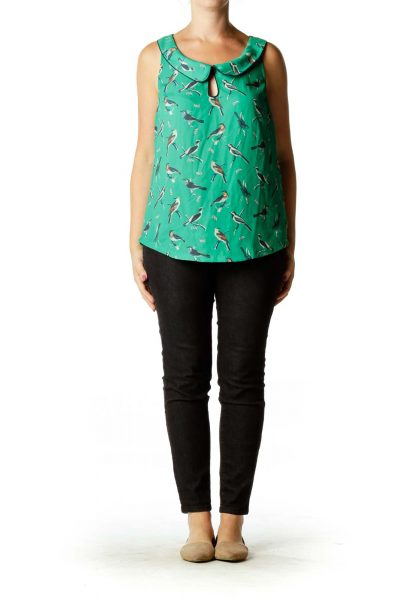 Green Bird Print Blouse