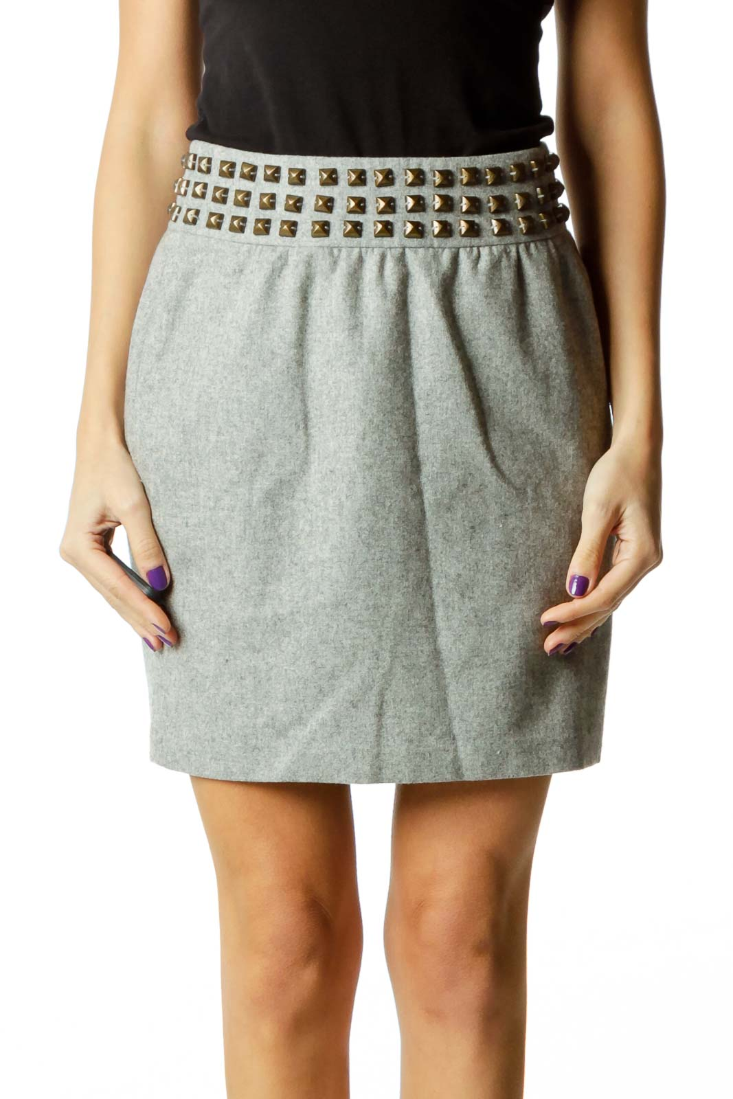 Gray Studded Pencil Skirt