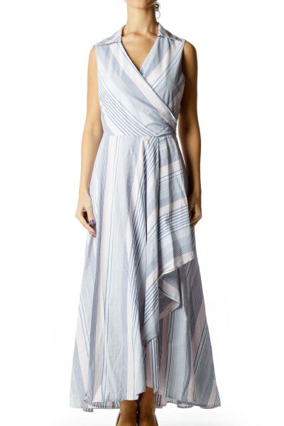 Blue Pink Pinstripe Day Dress