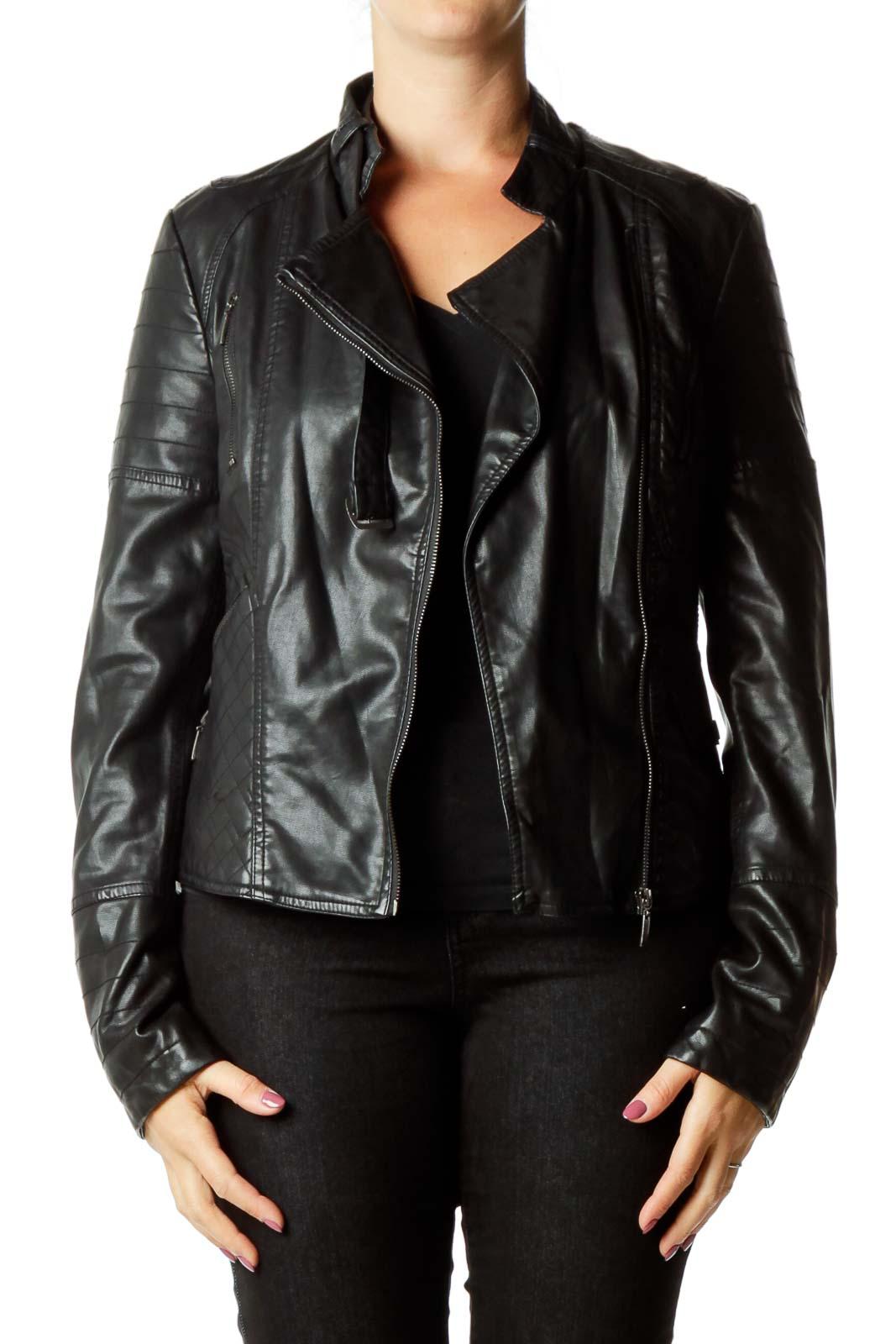 Black Faux-Leather Quilt Detailed Jacket