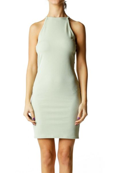 Green Ribbed High Neck Dress