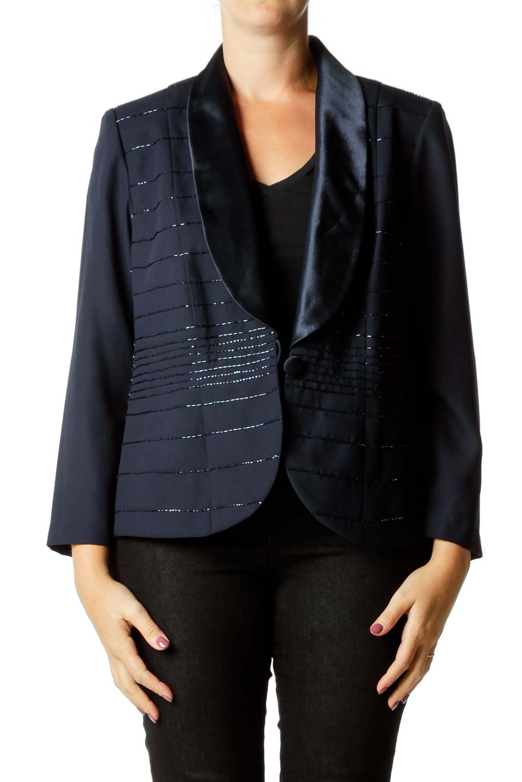 Navy Beaded Satin Detail Blazer
