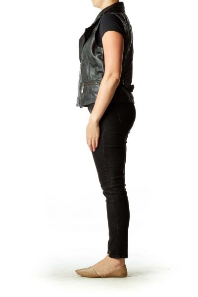 Black Lamb-Leather Vest