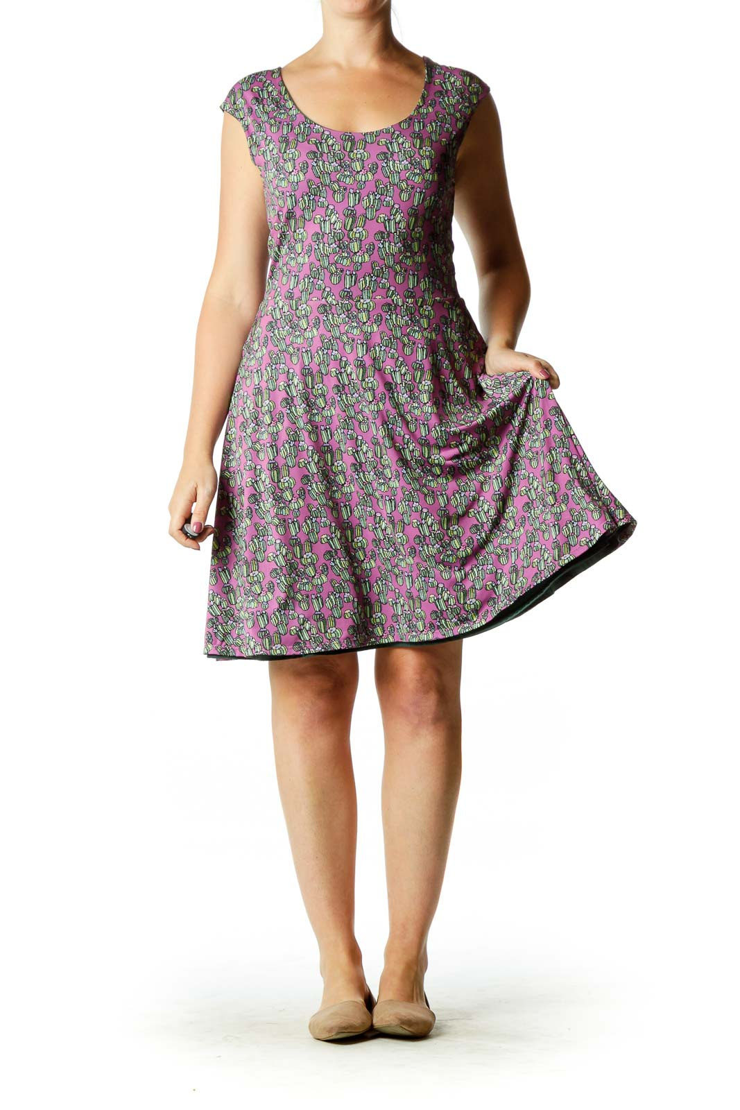 Purple Green Reversible Cactus Print Dress