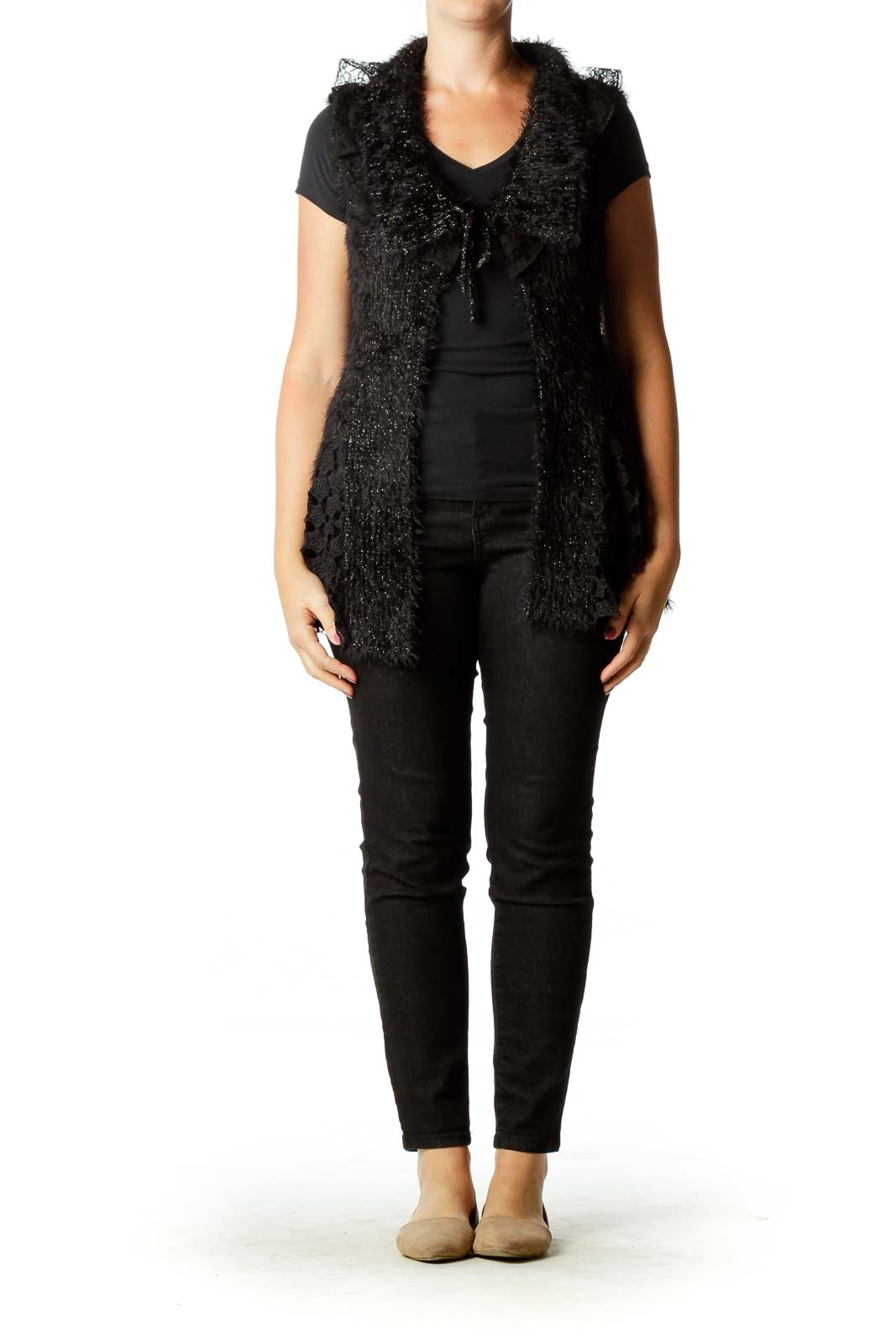 Black Metallic Faux-Fur Vest