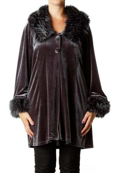 Gray Faux-Fur Velvet Jacket