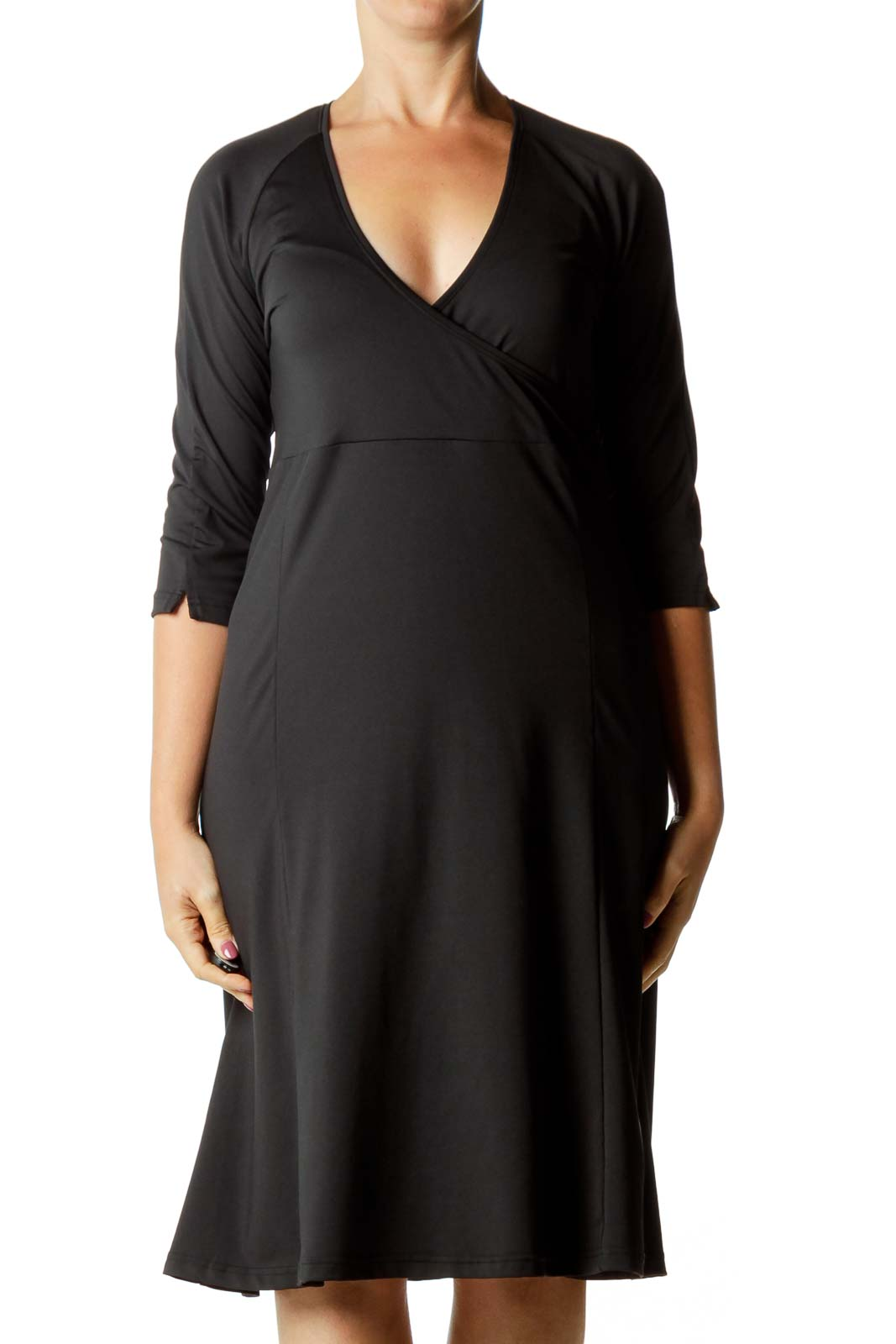 Black V-Neck Athletic Dress