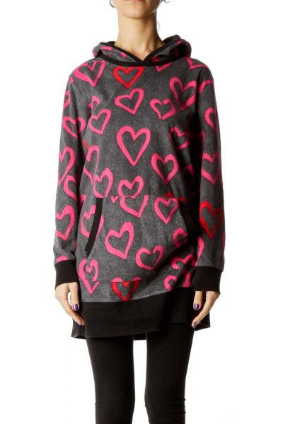Gray Heart Print Hooded Sweater
