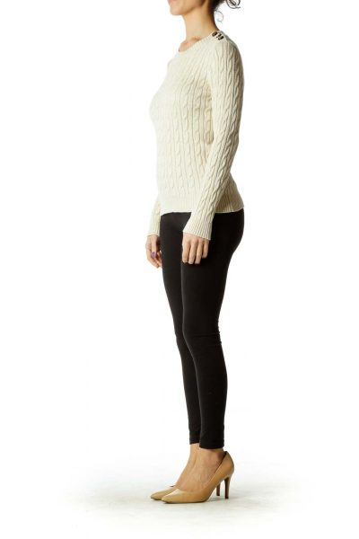 Beige Metallic Cable Knit Sweater