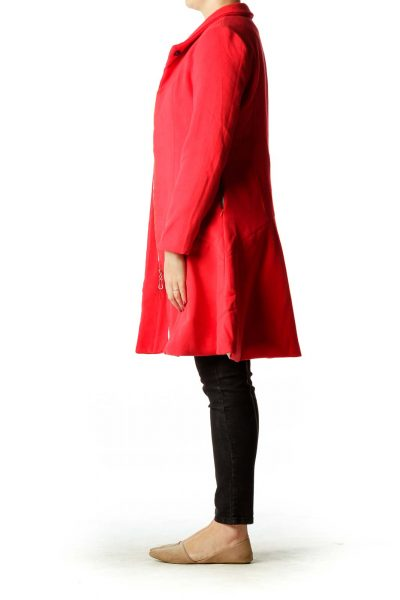 Red Fleece Zippered Coat