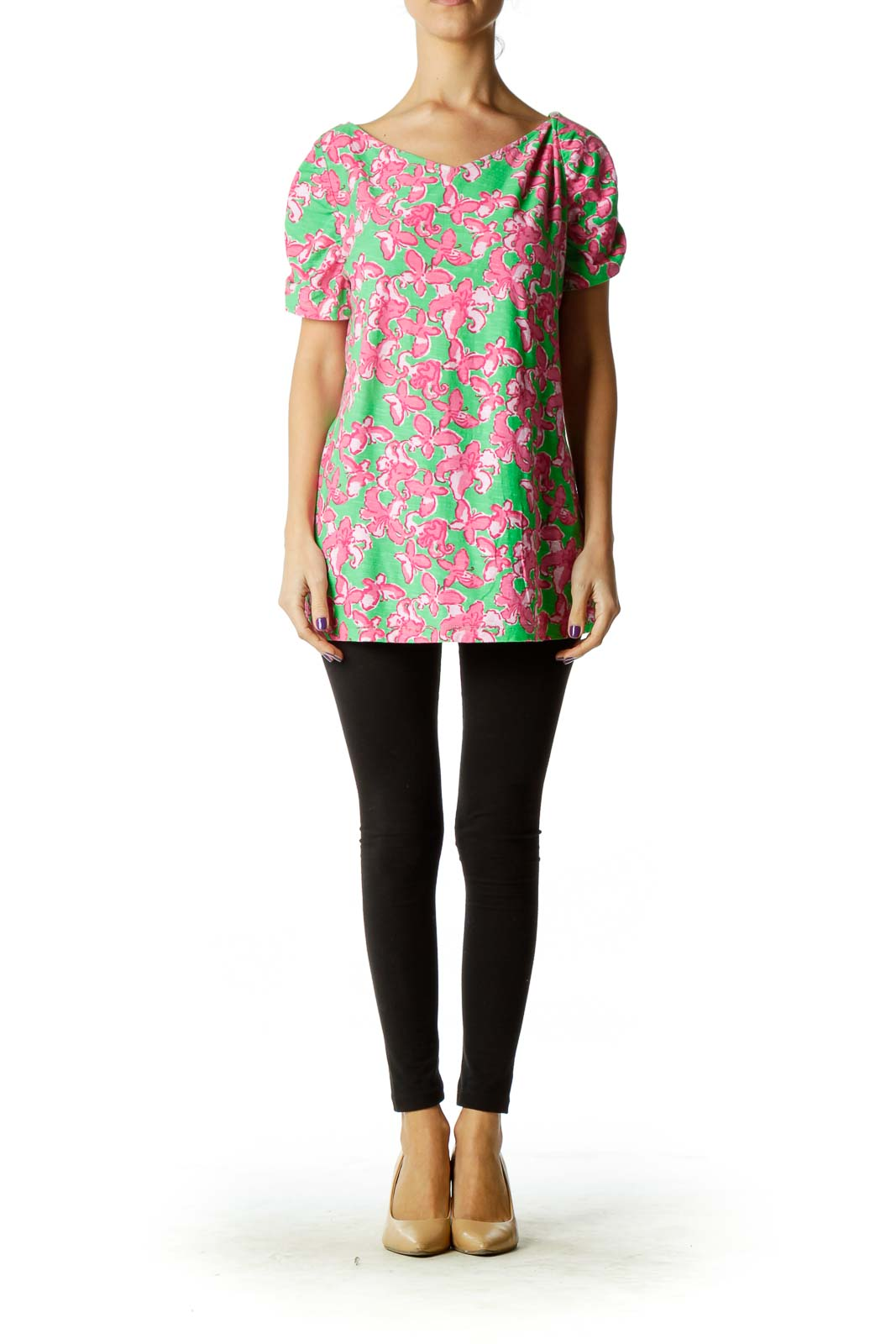 Green Pink Flower Print T-Shirt