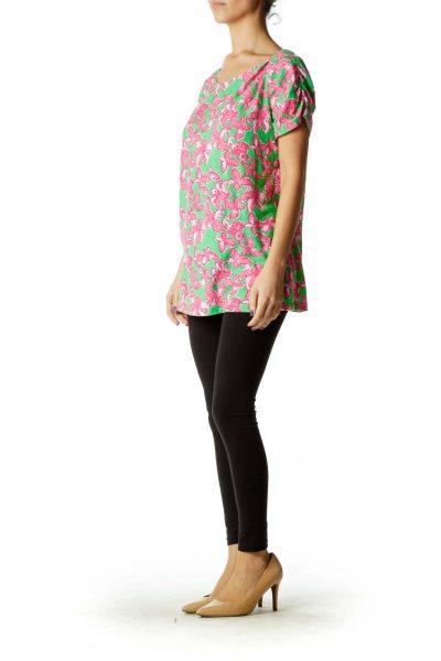 Green Pink Flower Print T-Shirt